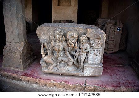 Bas reliefes in Hindu temple. Sri Ranganathaswamy Temple. Tiruchirappalli Tamil Nadu India