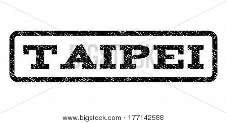 Taipei watermark stamp. Text tag inside rounded rectangle frame with grunge design style. Rubber seal stamp with dust texture. Vector black ink imprint on a white background.