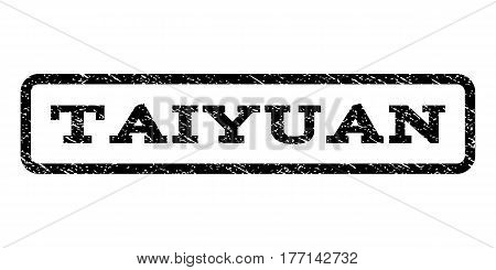 Taiyuan watermark stamp. Text caption inside rounded rectangle frame with grunge design style. Rubber seal stamp with dirty texture. Vector black ink imprint on a white background.