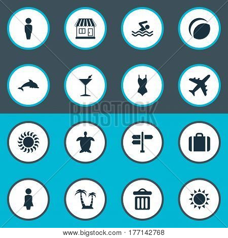 Vector Illustration Set Of Simple Seaside Icons. Elements Swimming Man, Airplane, Woman And Other Synonyms Summer, Aquatic And Tortoise.