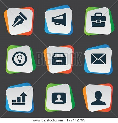 Vector Illustration Set Of Simple Business Icons. Elements Representative, Progress, Inbox And Other Synonyms Dossier, Pen And Bulb.