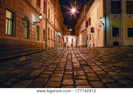 Cobblestones street in an old city of Zagreb, Croatia at night