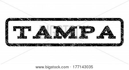 Tampa watermark stamp. Text tag inside rounded rectangle frame with grunge design style. Rubber seal stamp with dirty texture. Vector black ink imprint on a white background.