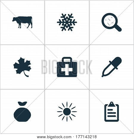 Vector Illustration Set Of Simple Agricultural Icons. Elements Medical Kit, Snowflake, Pipette And Other Synonyms Virus, Sunlight And Magnifier.