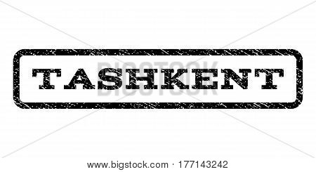 Tashkent watermark stamp. Text caption inside rounded rectangle with grunge design style. Rubber seal stamp with dirty texture. Vector black ink imprint on a white background.