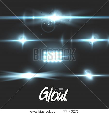 Illustration of Vector Lens Flare Effect. Transparent Vector Glow Lens Flare Ray Effect. Futuristic Interface Technology Infographic Template