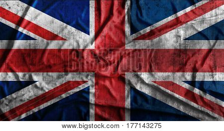 Grunge crumpled english flag background with dirt. 3d rendering