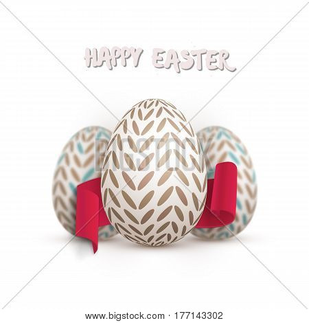 Illustration of Vector Easter Egg Set. Happy Easter Painted Vector Egg Set with Ribbon Banner and DOF Photography Effect Isolated on White Background