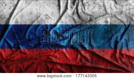Grunge crumpled russian flag background with dirt. 3d rendering