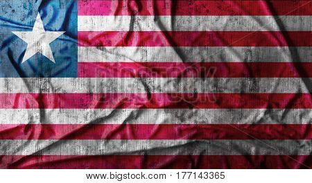 Grunge crumpled Liberia flag background with dirt. 3d rendering