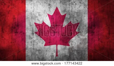 Grunge crumpled Canadian flag background with dirt. 3d rendering
