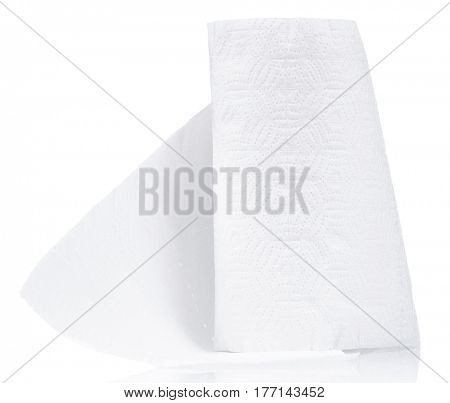 Single roll of toilet paper on white background