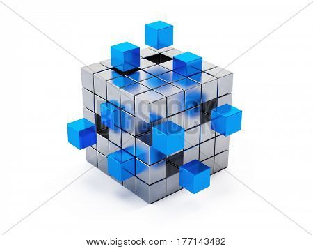 Teamwork business concept - cube assembling from blocks. 3d render