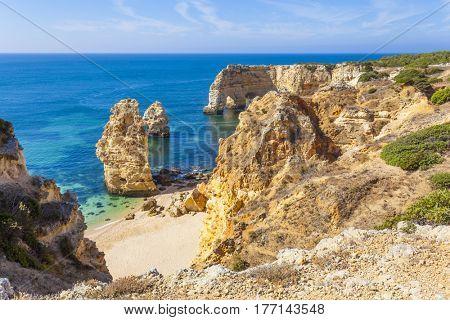 Top view of idyllic beach of Marinha in Lagoa - Algarve Portugal