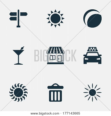 Vector Illustration Set Of Simple Seaside Icons. Elements Taxi, Garbage, Beach Games And Other Synonyms Summer, Crossroad And Garbage.