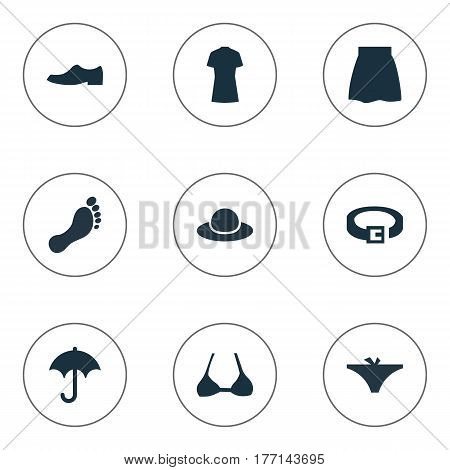 Vector Illustration Set Of Simple Wardrobe Icons. Elements Panties, Cotton Fabric, Brasserie And Other Synonyms Panties, Bra And Casual.