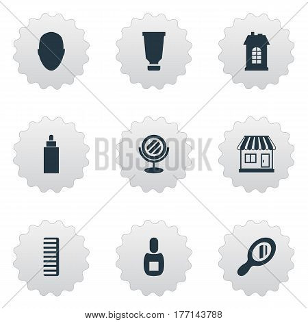 Vector Illustration Set Of Simple Barber Icons. Elements Bottle, Premises, Hackle And Other Synonyms Supermarket, Mirror And Container.