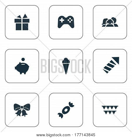 Vector Illustration Set Of Simple Holiday Icons. Elements Money Pig, Decorations, Game And Other Synonyms Firework, Candy And Caramel.