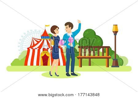 Young couple in love walks in the park of rest and entertainment, along the streets of the city, past the circus and children's, chatting, having fun, eating sweet cotton wool. Vector illustration.