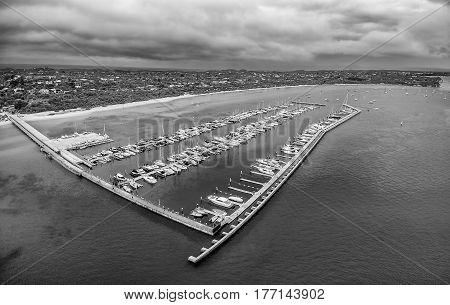 Black And White Aerial View Of Blairgowrie Marina On Mornington Peninsula, Melbourne Australia.