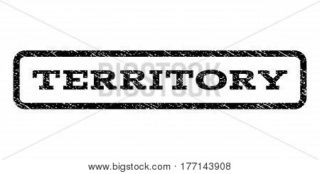Territory watermark stamp. Text caption inside rounded rectangle with grunge design style. Rubber seal stamp with scratched texture. Vector black ink imprint on a white background.