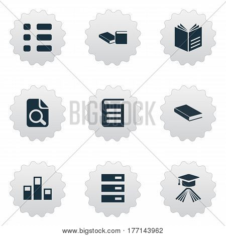 Vector Illustration Set Of Simple Books Icons. Elements Encyclopedia, Archive, Knowledge And Other Synonyms Encyclopedia, Page And Read.