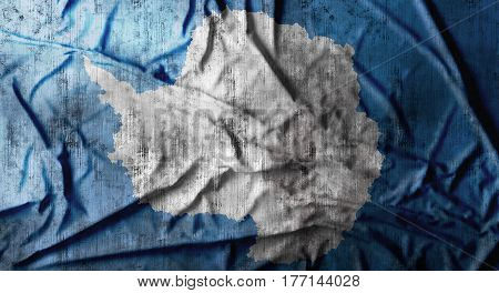Grunge crumpled Antarctica flag background with dirt. 3d rendering