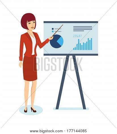 The girl shows on the stand a schedule and statistics of performance indicators, presenting her speech and report, in strict office clothes. Vector illustration isolated on white background.