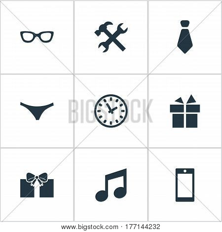 Vector Illustration Set Of Simple Instrument Icons. Elements Gift, Present, Mobile Phone And Other Synonyms Tool, Watch And Work.