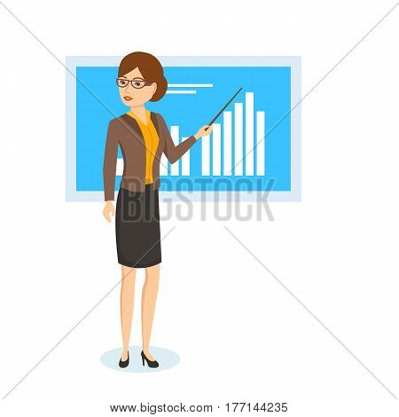 Women's professions. Girl shows on stand schedule, statistics of performance indicators, presenting her speech and report, in strict office clothes. Vector illustration isolated on white background.
