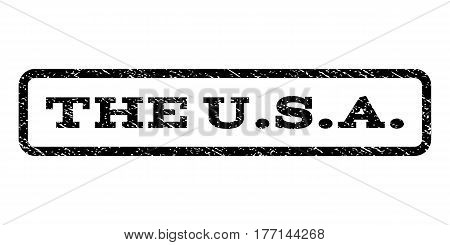 The U.S.A. watermark stamp. Text caption inside rounded rectangle frame with grunge design style. Rubber seal stamp with unclean texture. Vector black ink imprint on a white background.