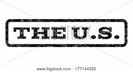 The U.S. watermark stamp. Text caption inside rounded rectangle frame with grunge design style. Rubber seal stamp with dirty texture. Vector black ink imprint on a white background.
