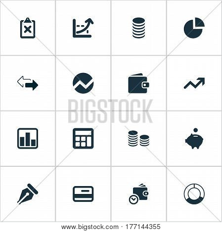 Vector Illustration Set Of Simple Finance Icons. Elements Wallet, Segmentation, Credit Card And Other Synonyms Separation, Wallet And Percent.
