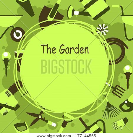 seamless pattern Set of icons of garden tools work equipment Design element for advertisment Ready for a text green