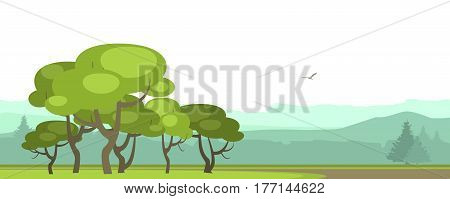 vector illustration horizontal panoramic landscape of mountainous terrain summer day forest area in the foreground group grove of trees