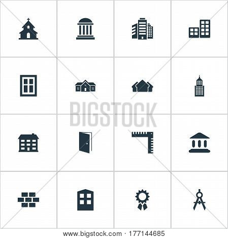 Vector Illustration Set Of Simple Structure Icons. Elements Reward, Shelter, Glazing And Other Synonyms Apartment, Stone And Hut.