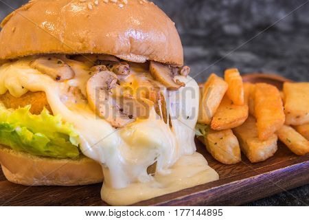 Close-up of Cream mushroom sauce Burger with French fries on wood plate with copy space.