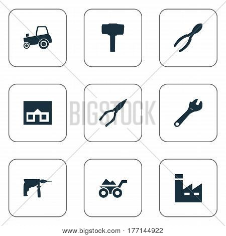 Vector Illustration Set Of Simple Repair Icons. Elements Cutters, Manufacture, Pliers And Other Synonyms Electric, Drill And Industry.