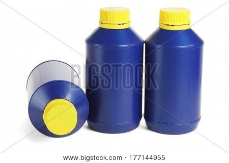 Three Blue Plastic Containers on White Background