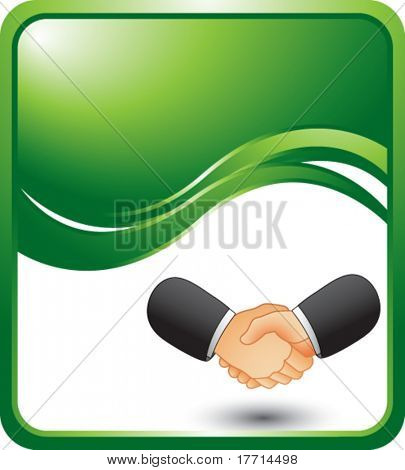 handshake green wave background