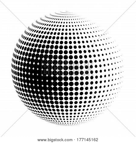 Vector halftone sphere stylized logo. Dotted orb design element isolated on white.