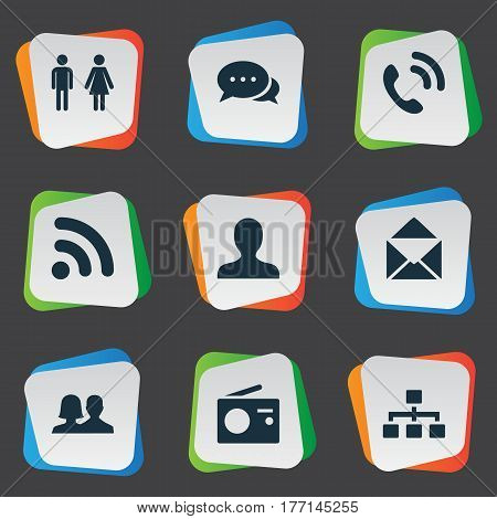 Vector Illustration Set Of Simple Transmission Icons. Elements Talking, Structure, Walkie And Other Synonyms Mail, Networking And Wave.