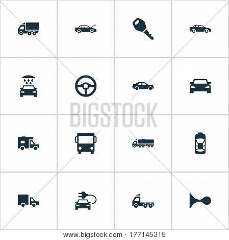 Vector Illustration Set Of Simple Transport Icons. Elements Klaxon, Lorry Stop, Repairing Service And Other Synonyms Trucking, Carcase And Wash.