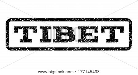 Tibet watermark stamp. Text tag inside rounded rectangle frame with grunge design style. Rubber seal stamp with unclean texture. Vector black ink imprint on a white background.