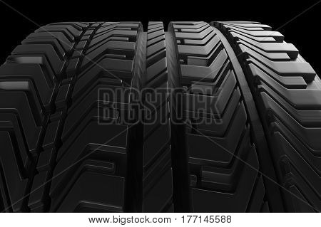 3d rendering black tire texture or tread pattern background