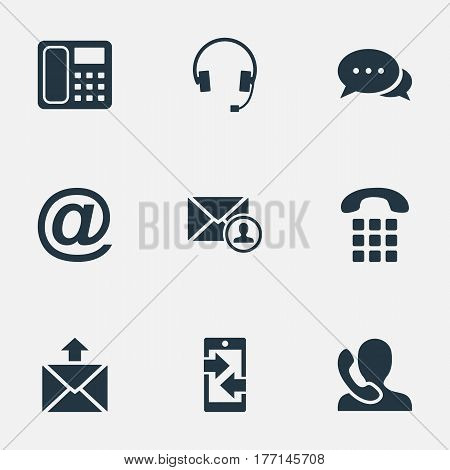 Vector Illustration Set Of Simple Contact Icons. Elements Intercommunication, Postage, Earphone And Other Synonyms Calling, Epistle And Mail.