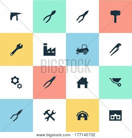 Vector Illustration Set Of Simple Wrench Icons. Elements Cart, Home, Pliers And Other Synonyms Repair, Tool And Construction.