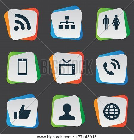 Vector Illustration Set Of Simple Network Icons. Elements Member, Telly, Wave And Other Synonyms Telly, Global And User.