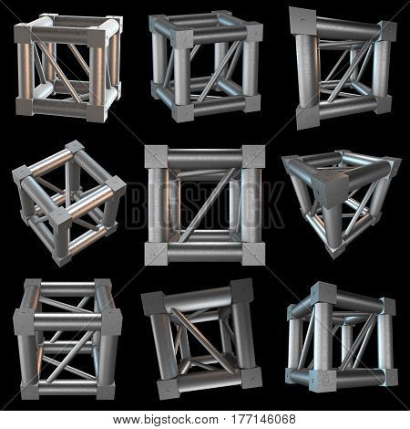 Steel truss girder cube element set. 3d render on black