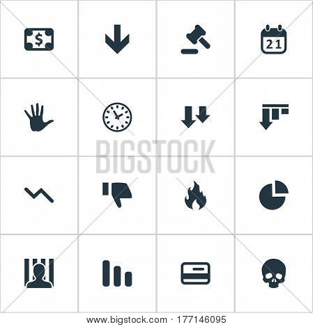 Vector Illustration Set Of Simple Impasse Icons. Elements Bar Graph, Tribunal, Bankroll And Other Synonyms Palm, Circular And Cursor.